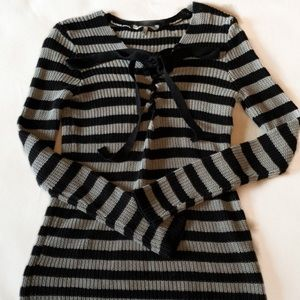 BKE striped black and gray ribbed lace up sweater